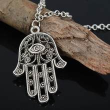 Charm Silver Chain Necklace Jewish Judaica Kabbalah Pendant Chain Necklace Gifts Hamsa Fatima Hand Pendant(China)
