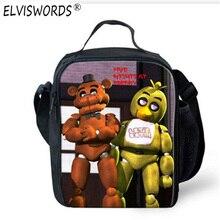 Elviswords Five nights at Freddys lancheira Termica Сумки для обедов для детей Обувь для девочек детей lunchbox изолированные небольшой обед сумка-холодильник