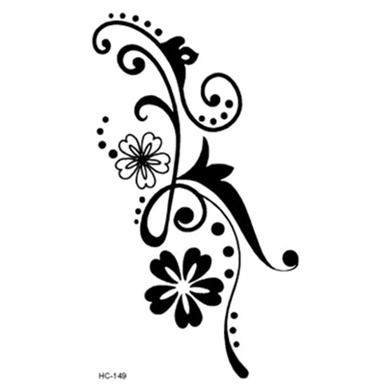 Tubuh tahan air seksi lengan dada stiker tato palsu Sketsa bunga bunga daun hitam desain Flash