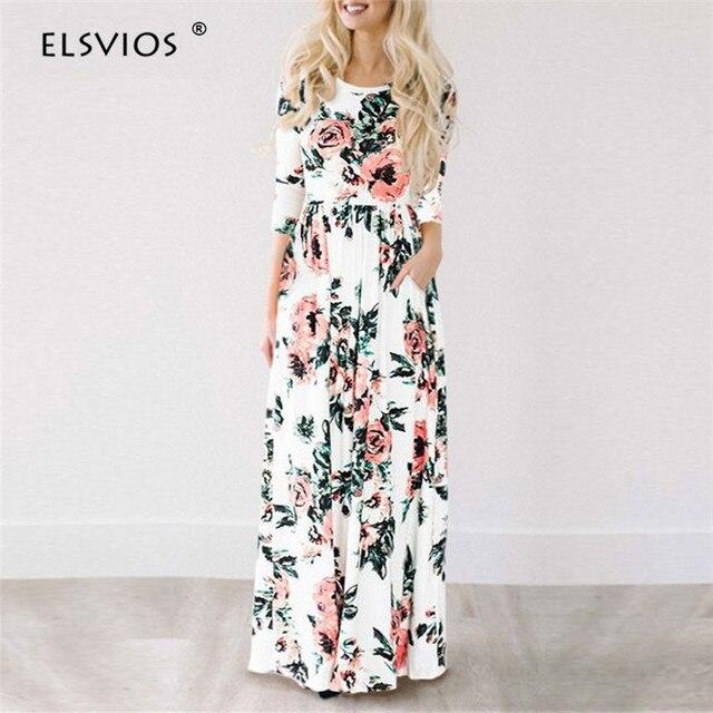 ffb0feabfa ELSVIOS estampado Floral para mujer manga tres cuartos Boho Maxi Vestido de  playa de verano largo