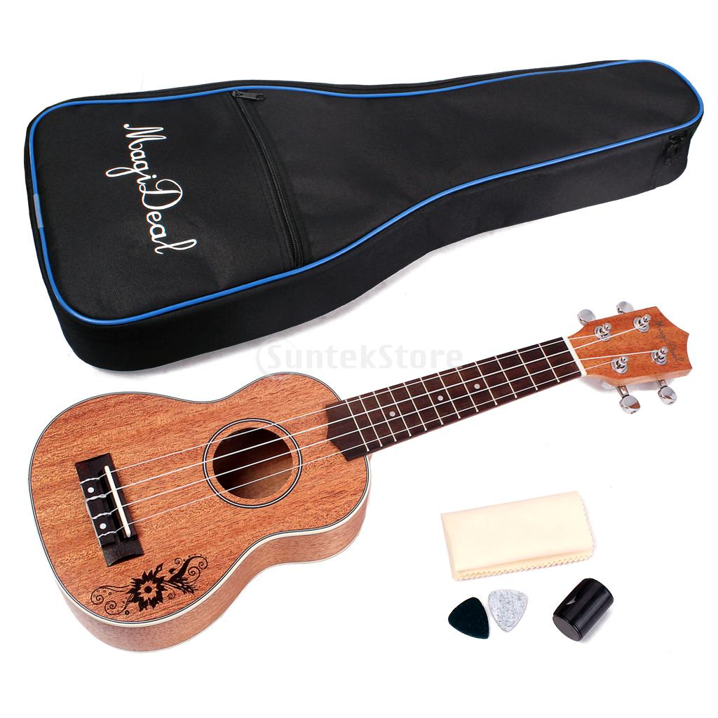 MagiDeal 21' Mahogany Soprano Ukulele Uke Guitar Beginners with Gig Bag
