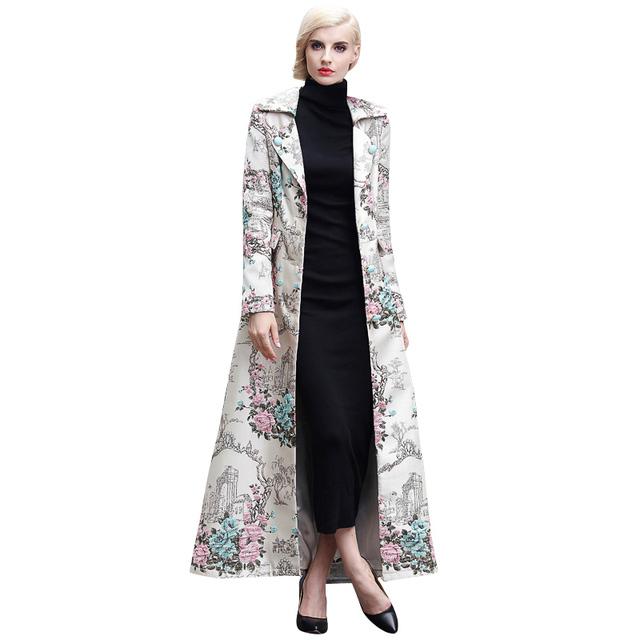 2016 S-XXXL Otoño Capa Larga Musulmán Florales Tallas grandes Trench Coat Mujeres Con Muesca de Cuello de Chaqueta de Un Solo Pecho Slim Fit Maxi