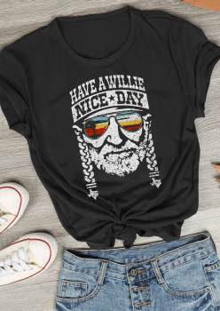 Short Sleeve Have a Willie Nice Day Character Female Casual T Shirt