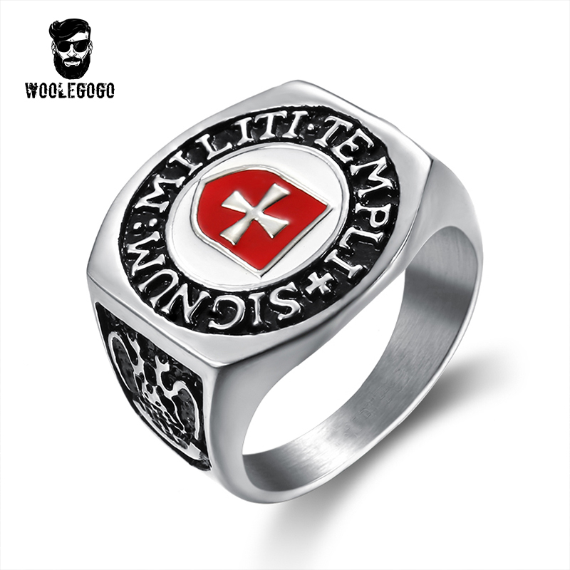 Retro Red Enamel Cross Shield Ring Vintage Stainless Steel Men Silver Finger Rings Assassins Creed Jewelry Knights Bands Ring цена