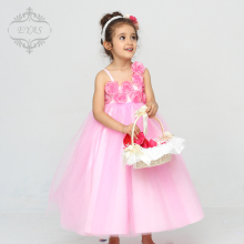 2016 EYAS Summer Flower Girl Wedding Dress Pink Ball Gown Sleeveless Floral Princess C4212