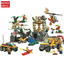 857Pcs City Ungle Jungle Exploration Site Building Blocks Sets Creator Bricks Educational Toys Children lepin city 02061 series 870pcs the jungle exploration site set children educational building toys kits compatible with 60161