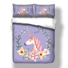 3D Purple Unicorn Duvet Cover Quilt Pillow Cases USA Twin Full Queen King Cartoon Bedding Set Floral Bed Linen 3PCS