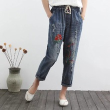 Women Summer Loose Large measurement Jeans 2017 High Quality Denim Pants Slim-type Female New Retro Embroidery Denim Trousers
