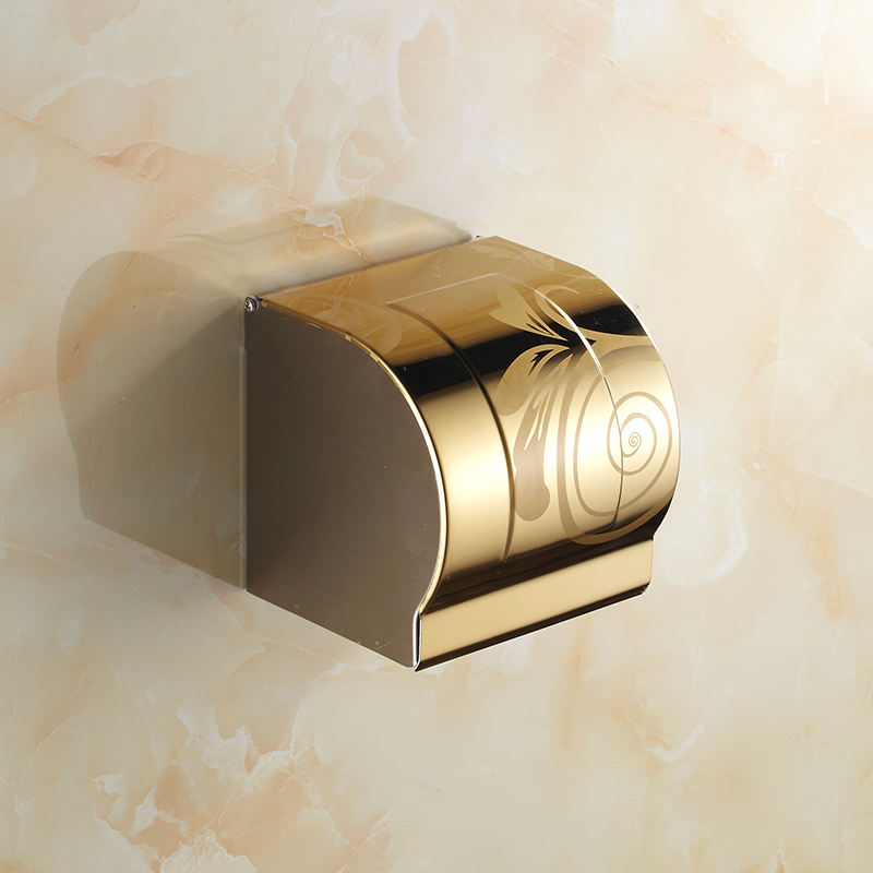 Stainless steel waterproof bathroom tissue box holder, Antique toilet paper roll holder, European style kitchen gold paper rackStainless steel waterproof bathroom tissue box holder, Antique toilet paper roll holder, European style kitchen gold paper rack
