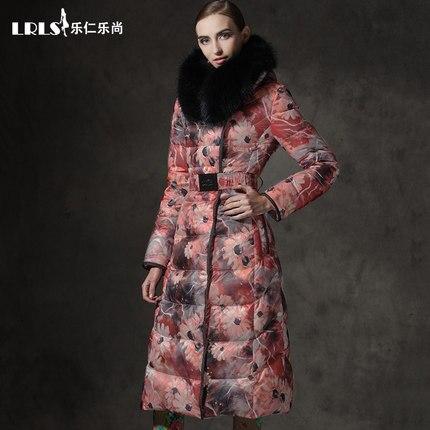 2016 Winter Jacket Women Doan jackets print Womens down coat slim thickening X-long large fur Hooded Outerwear Duck Down parka