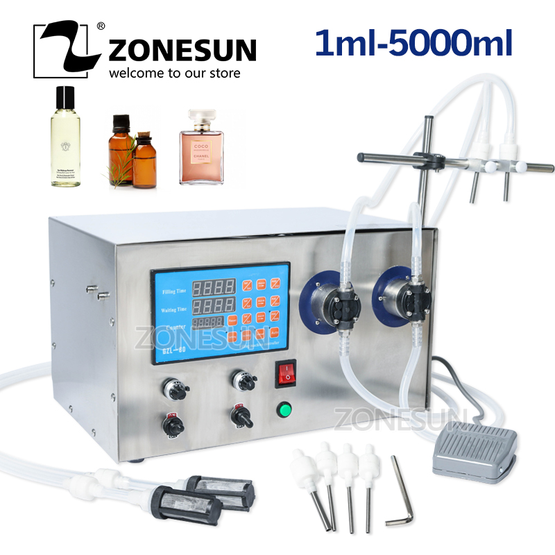 ZONESUN Double Head Magnetic Pump Beverage Perfume Water Juice Essential Oil Electric Digital Liquid Bottle Filling Machine