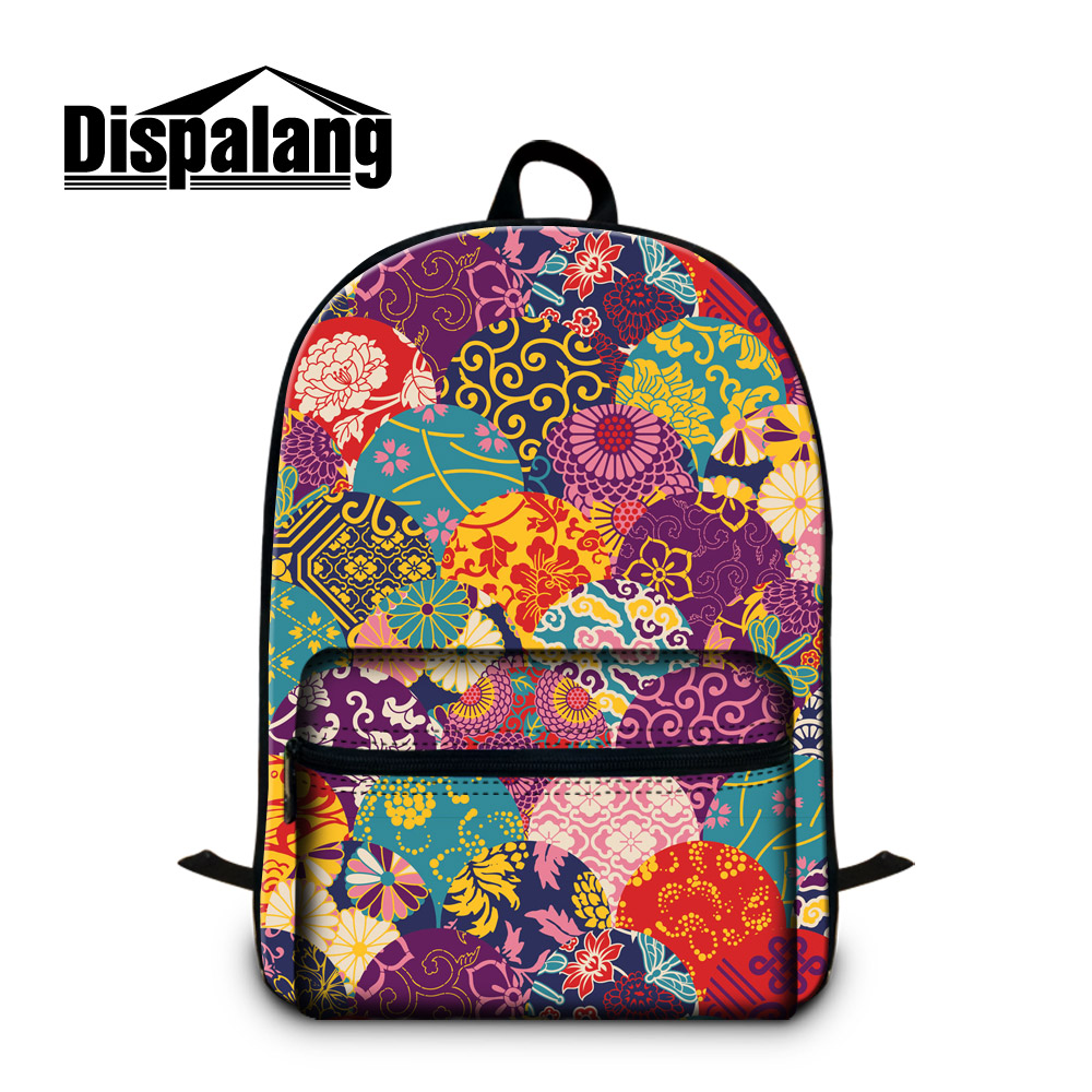 Dispalang School Backpack Pattern for Teen Girls Floral Back Pack Chevron Strips Schoolbag Bagpack Cute Day Pack for Laptop 14 missoni for target travel tote colore chevron pattern