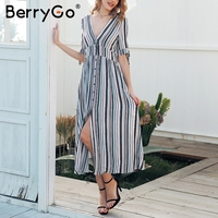 BerryGo Split Striped Long Dress Women Short Sleeve Button Maxi Dress Female Spring Casual V Neck