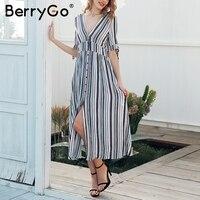 BerryGo Split Striped Long Dress Women Short Sleeve Button Maxi Dress Female Spring Casual V Neck