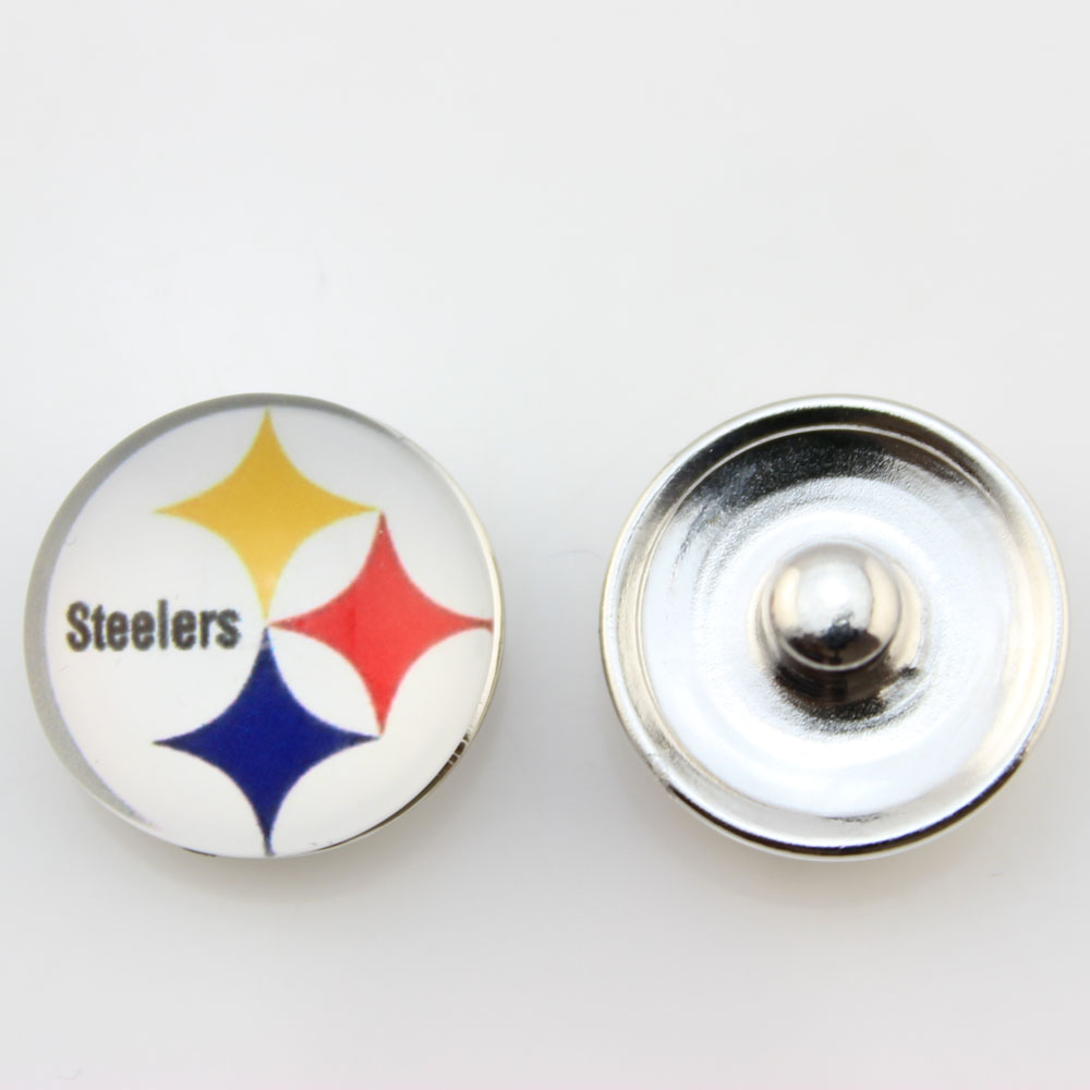 2c5208d34ec 10pcs lot USA Football Pittsburgh Steelers 18mm Snap Button Jewelry NFL  Charms For Ginger Snap