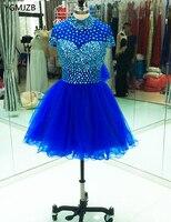 Elegante Vestito Da Cocktail Collo Alto di Cristallo con Maniche Blu Royal Africano Da Sera Corto Partito Vestito Homecoming Vestido De festa