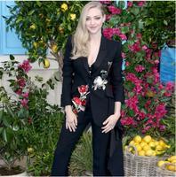 Для женщин комплект из 2 предметов цветок мотобрюки птица вышивка Slim Fit Куртка + длинные брюки для девочек работы костюм офисная форма черны