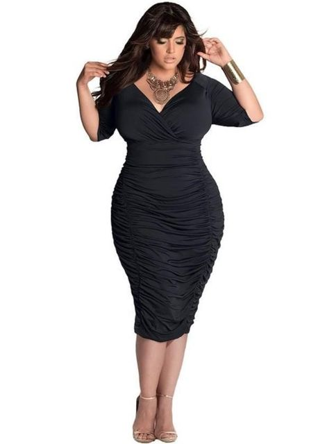 Глубокий V-образным Вырезом Плюс Размер Женщин Dress Пакет Хип Wrap Мода Сексуальный Летом Стиль Чистого Цвета Стретч Bodycon Карандаш Мода Dress
