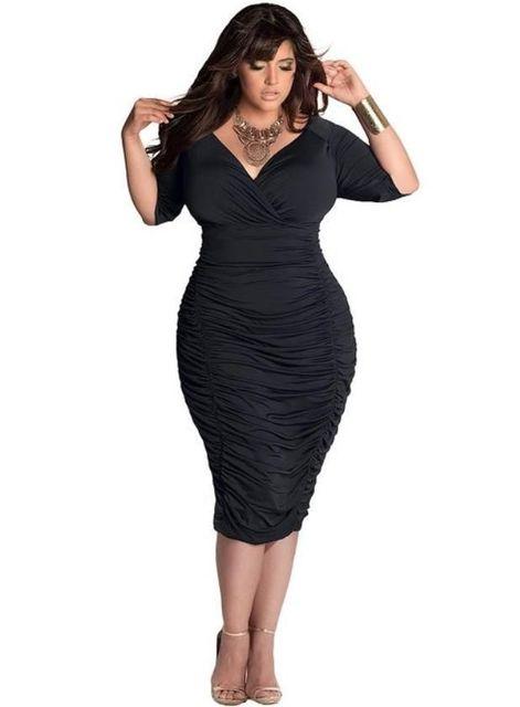 Profundo decote em v plus size mulheres dress pacote hip envoltório moda sexy verão estilo cores puras trecho lápis bodycon fashion dress