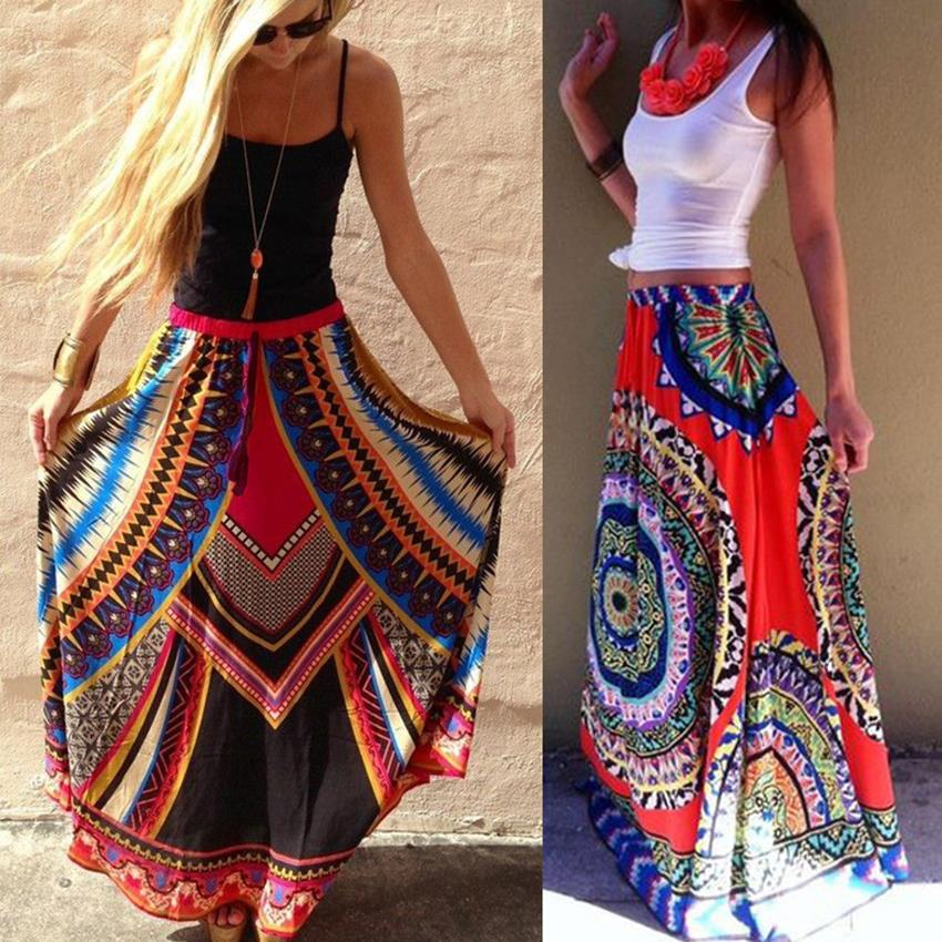 68f2b2483 € 13.83 |2016 Mujeres Del Verano de Bohemia Totem Ethnic Print Maxi Faldas  de Cintura Alta Maxi Faldas Largas de Playa faldas mujer Saias Longa ...