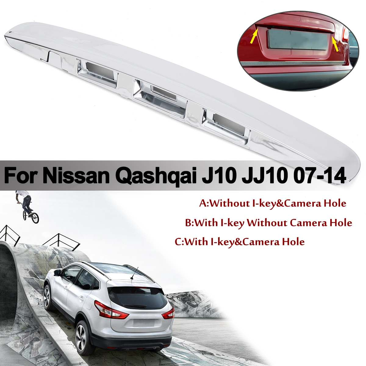 For Nissan Qashqai J10 2007-2014 Rear Tailgate Boot Lid Handle i-Key/&Camera Hole