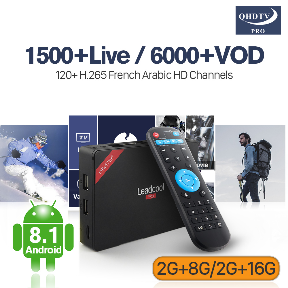 Android Leadcool Pro IPTV Box Subscription IP TV Android 8.1 2G+8G 2G+16G 4K QHDTV Pro Arabic French IPTV 4K Decoder H.265 smart 4k x98 pro tv box android 6 0 2g 16g amlogic s912 subtv iptv subscription 8000 vod iptv europe french arabic iptv box