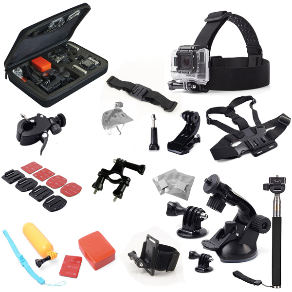 For xiaomi yi Accessories for Gopro Hero 2 3+ 4 Large Waterproof Carry Case Bag + Wrist Chest Head Belt Strap Mount +Floating