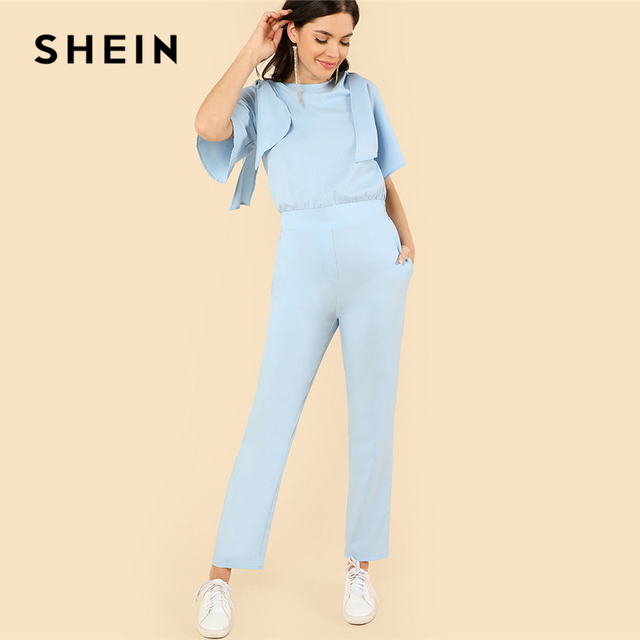 cf2376d545e5 SHEIN Blue Elegant Plain Boat Neck Half Flounce Sleeve Mid Waist Knot Long  Jumpsuit Summer Women Casual Solid Jumpsuit Clothing