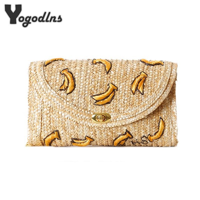 2018 Fruit Banana Stereoscopic Embroidery Summer Beach Straw Bag Cute Straw Bag Cross Body Women Chain Shoulder Bag
