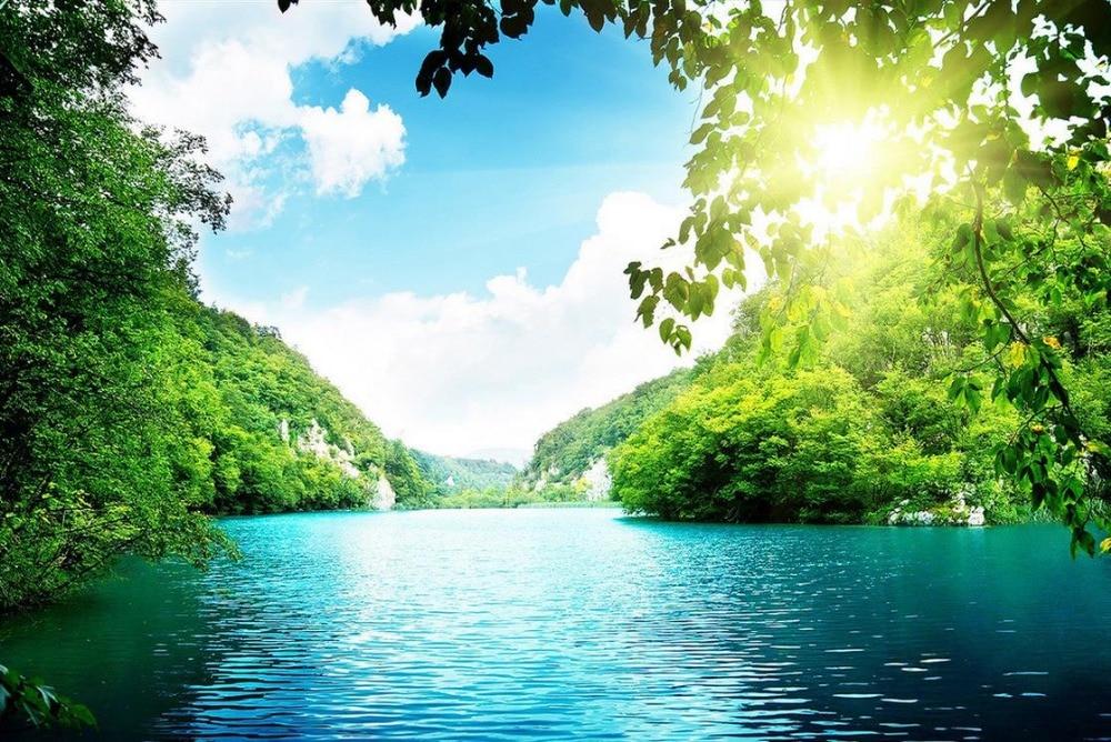 Compre 3d azul pano de fundo mural vista for Paesaggi naturali hd