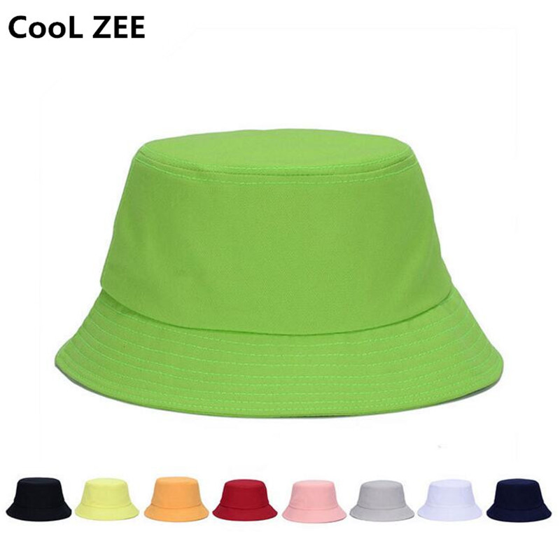 f8c69af7 Aliexpress.com : Buy 10 color Hot summer DIY unisex solid flat cotton black  white outdoor bucket hat for men women travel sun hat hiking fishing cap  from ...