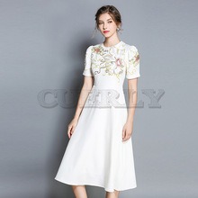 Cuerly 2019 High Quality Summer New Fashion Runway Dress Women White Short Sleeve Embroidery Floral Casual Vintage S-XXL