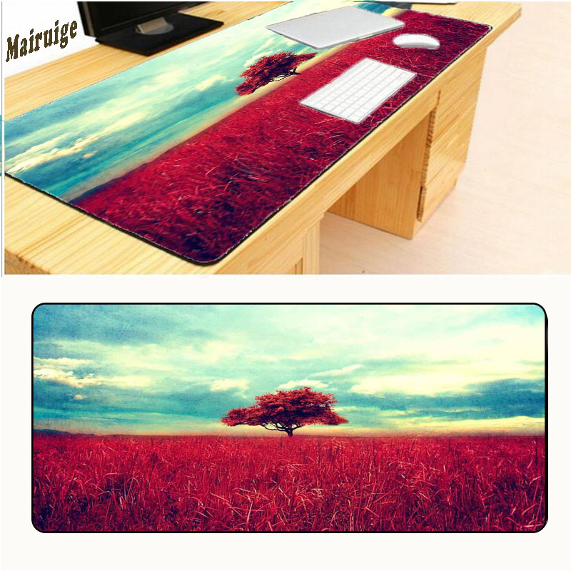 Mairuige 900*400*3 Large Print Design PC Computer Mat Soft Blue Space Red Trees Mousemat Game Mouse Pad for Gift Pad Gamer