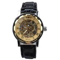 2017 quartz wristwatches watches women high quality Men's Classic Black Leather Gold Dial Skeleton Mechanical Sport DEC08