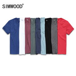 SIMWOOD 2019 Neue T Shirt Männer Slim Fit Einfarbig fitness Casual Tops 100% Baumwolle Komfortable Hohe Qualität Plus Größe TD017101