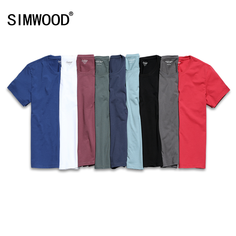 SIMWOOD 2019 New T Shirt Men Slim Fit Solid Color fitness Casual Tops 100%  Cotton Comfortable High Quality Plus Size TD017101