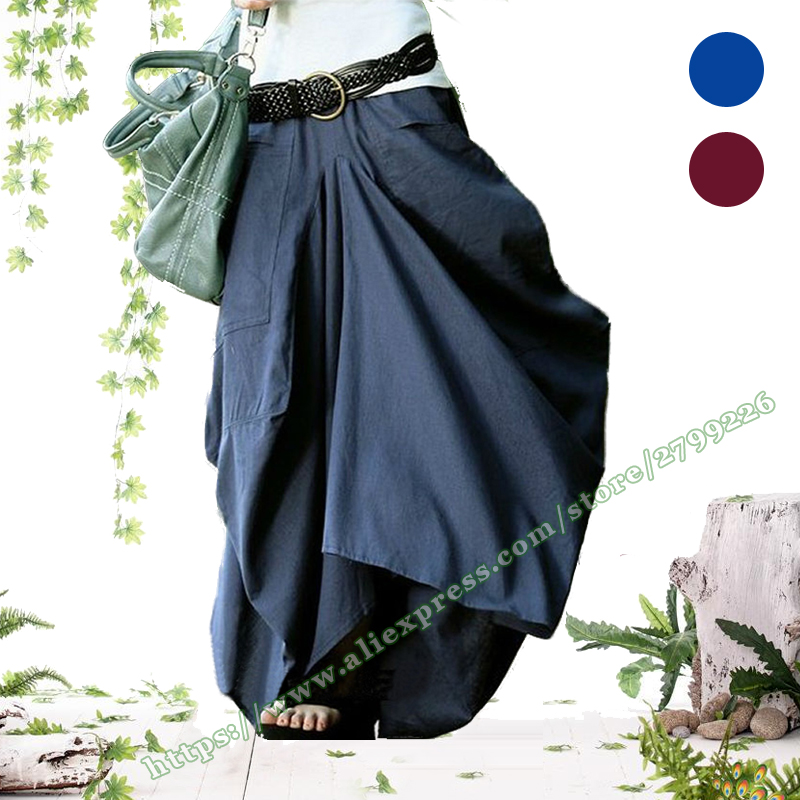 Vintage Fashion Casual Cotton and Linen Asymmetry Irregular Big Pocket Navy blue Female Bud Long Maxi