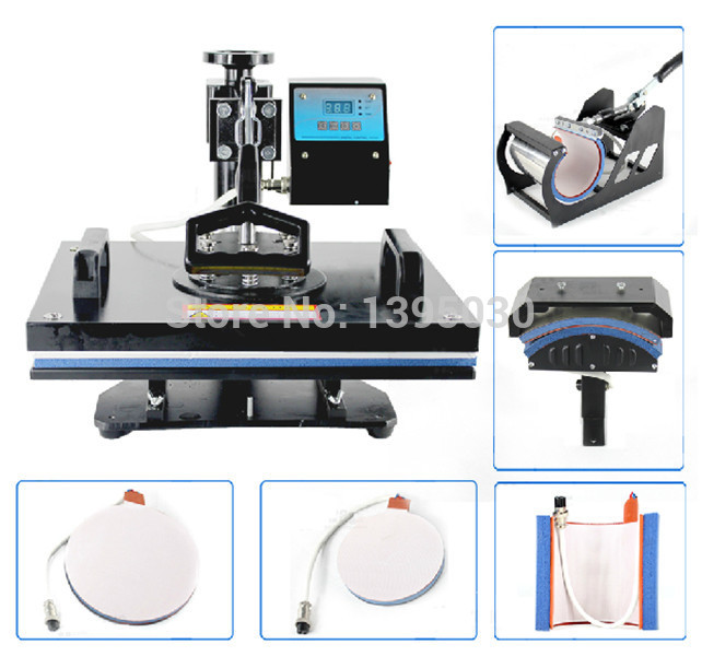 1PC 6in1 30*38cm T-shirt Swing Away Heat Press Machine/Shaking Head Heat Transfer Sublimation Machine 1 pc 2200w image heat press machine for t shirt with print area available for 38 cm x 38 cm