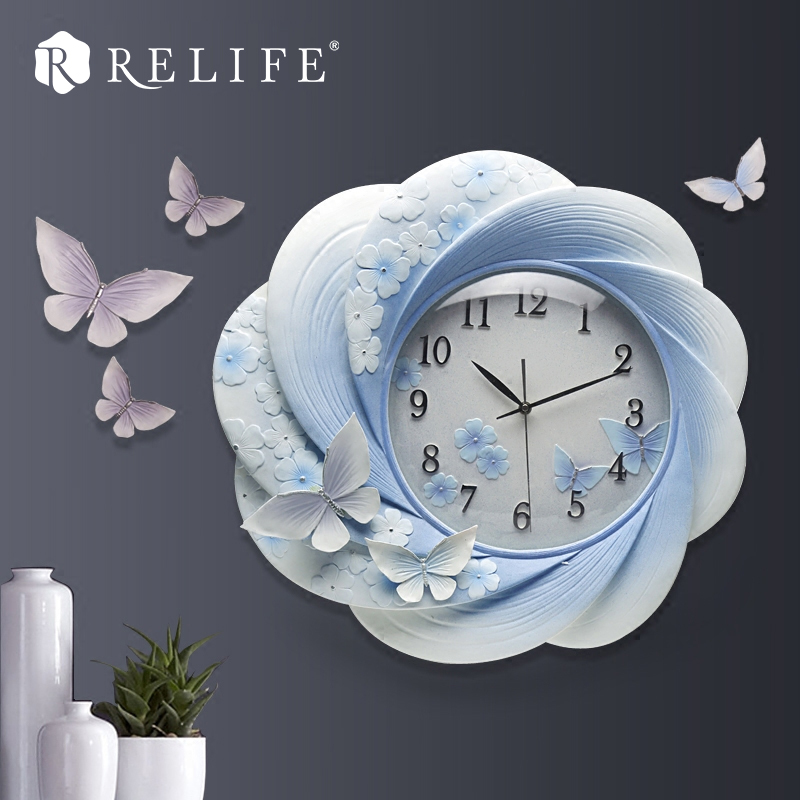 100% Handpainted 3D Wall Stickers Clock Large Decorative Home Clocks for Living Room with DIY Butterfly gold metal duvar saati