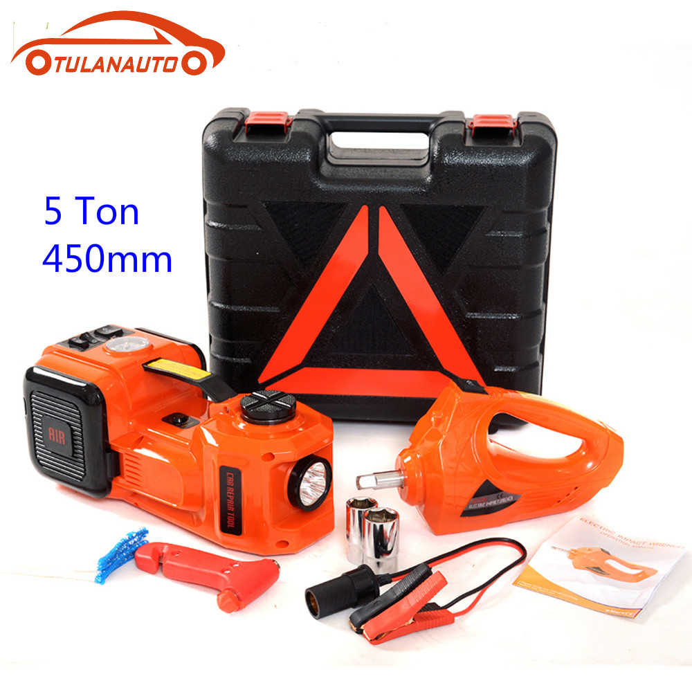 TULANAUTO 3 In 1 5T Electric Hydraulic Jacks 12V DC Car Floor Jack With LED Light Disassembly Tool For Sedan Van Truck