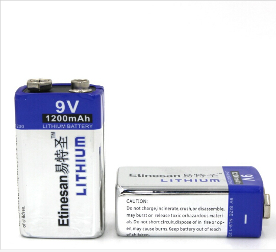 2pcs/lot 1200mAh Etinmesan 9v Li Batteries 9V Li-ion Lithium Battery Ultra Long Life USE for Smoke Alarms