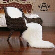 ROWNFUR Sheepskin Faux Fur Rugs For Home Bedroom Kids Living Room Chair Warm High Quality Non-slip Carpets White Gray Plush Mat