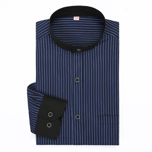 2016 New Autumn Men Dress Shirts Mandarin Stand Collar Long Sleeve Men Business Casual Stripe Shirts Plus Size Brand Clothes