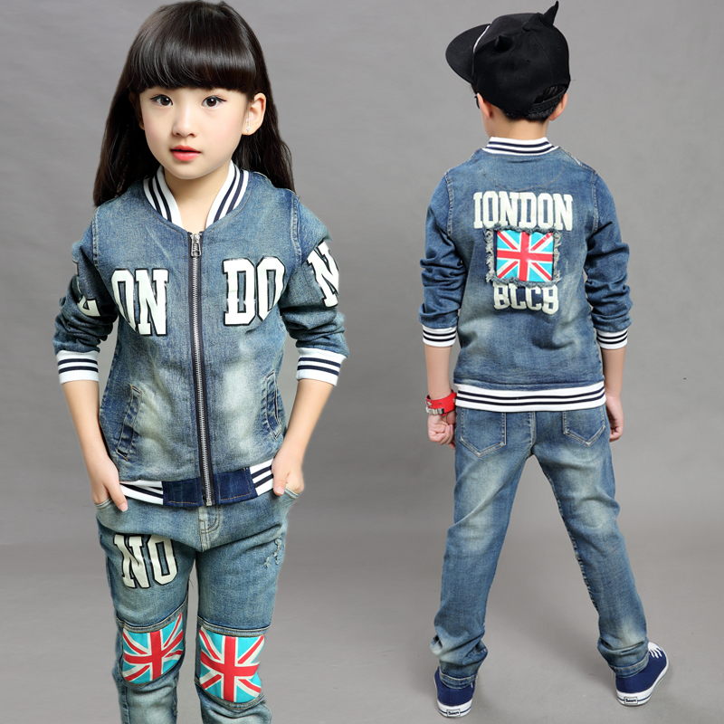 Children's clothes 2017 spring style infant baby kids clothing sets boys and girls cotton long sleeve 2pieces jackets denim suit 2017 new boys clothing set camouflage 3 9t boy sports suits kids clothes suit cotton boys tracksuit teenage costume long sleeve