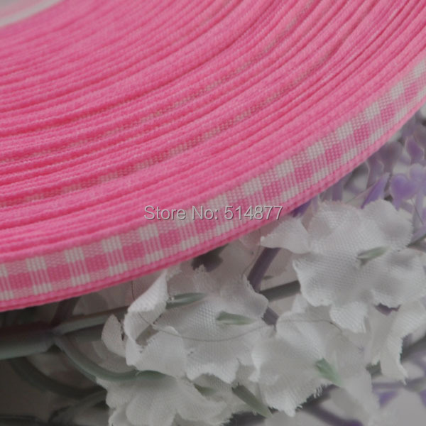 2 8 6mm Pink font b tartan b font plaid ribbon bows appliques craft sewing doll