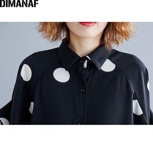 Image 5 - DIMANAF حجم كبير بلوزة المرأة قميص كبير الحجم الصيف سيدة عادية القمم تونك طباعة البولكا نقطة فضفاضة الإناث الملابس Batwing كم