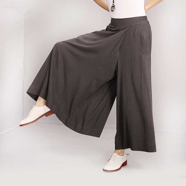 Elegant Women Casual Elastic Loose Large High Waist Linen Cotton Long Pants Women Trousers Maternity Pants Pregnant Clothes Ropa