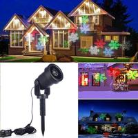 2018 Waterproof Moving Snow Laser Projector Lamps Snowflake LED Stage Light For Christmas New year Party Light Garden Lamp