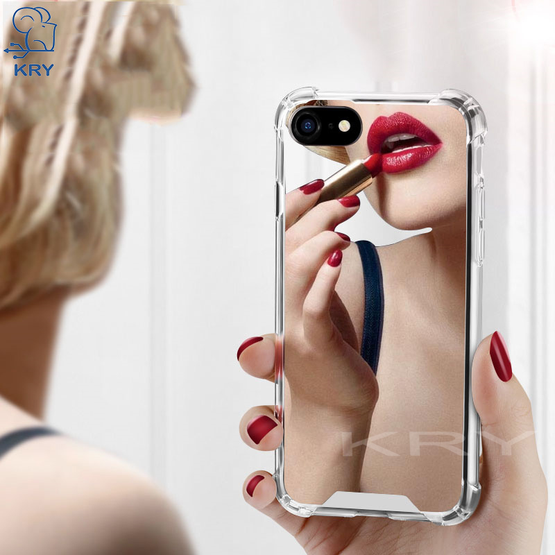 KRY Luxury Mirror TPU Phone Cases For iPhone 6 Case 6 6S 7 8 Plus Cases Airbag Soft Silicone Cover For iPhone X Case Capa Coque