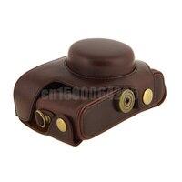 Caffè pu leather camera bag custodia + tracolla per pentax mx1 fotocamera digitale cinghia staccabile
